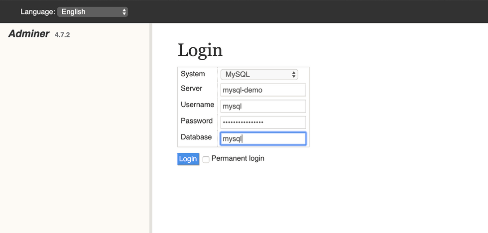 Adminer Login Screen
