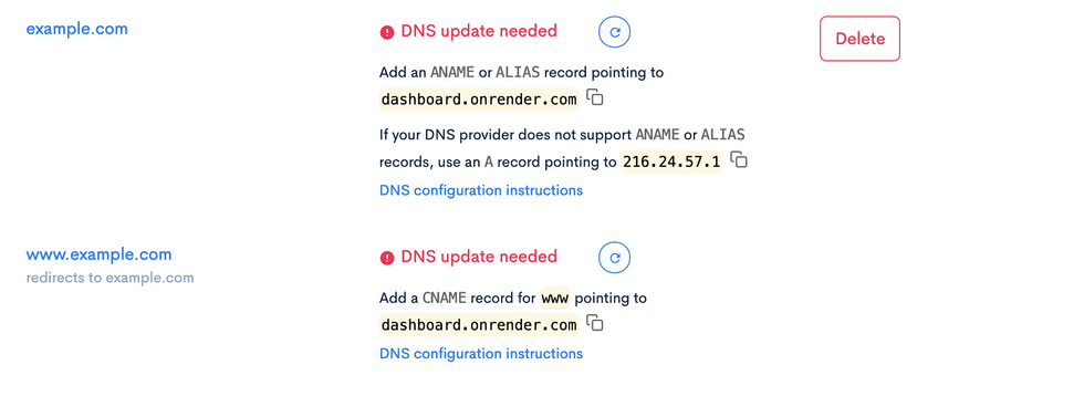 Custom Domains section with DNS update needed